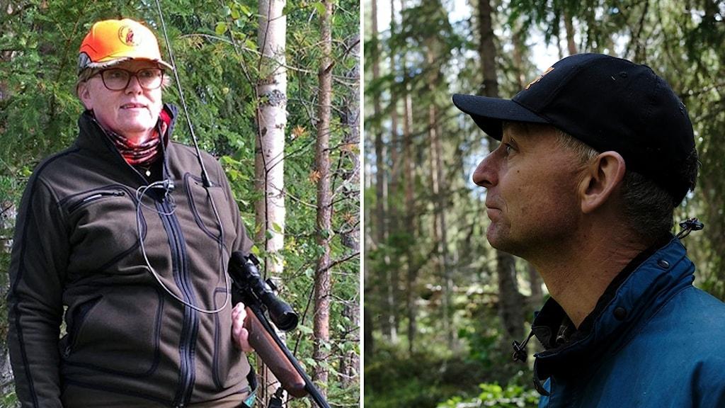 En kvinna med gevär i skogen och orange keps och en man som tittar in i skogen.