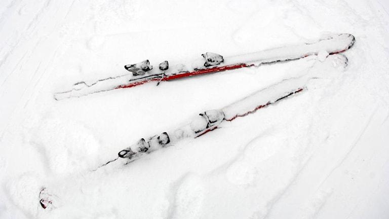 Slalomskidor, stående ute i snön. Foto: JanErik Henriksson/Scanpix