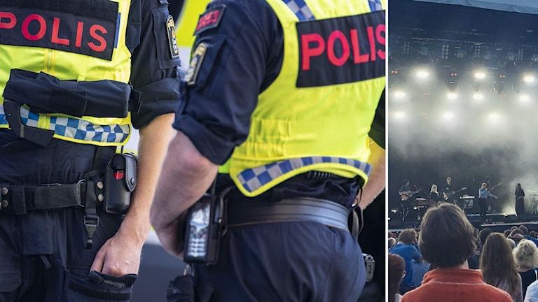 Två poliser i uniform till vänster och publikhav till höger.