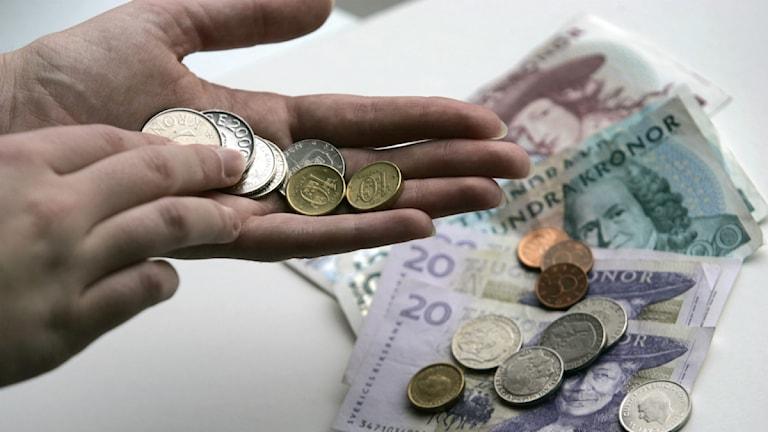 Svenska pengar. Mynt och sedlar. Foto Fredrik Sandberg / SCANPIX