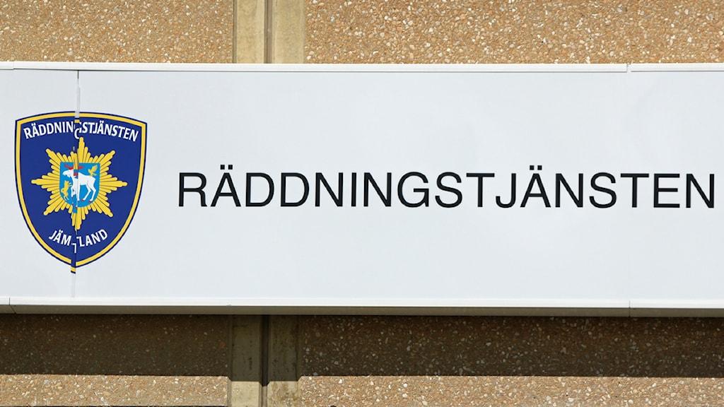 Räddningstjänsten skylt Foto: Jan Mårdberg/Sveriges Radio