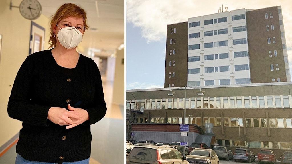 En kvinna i svart tröja med vitt munskydd och halvlångt ljusbrunt hår i sjukhuslokaler och ett sjukhus från utsidan