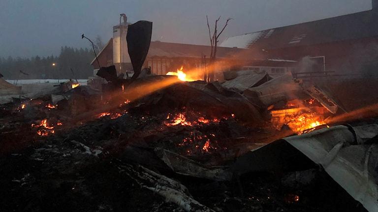 Det brinner på flera ställen i en hög med brandrester.