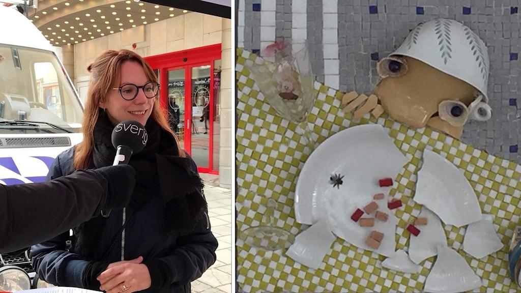 """Jessica Ottosson intervjuas på Stjärntorget i Östersund / Konstverket """"kras"""" av Anna Erlandsson. Foto: Pernilla Anth Jacobsson / Kvinnojouren"""