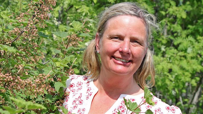Kvinna vid blommande vinbärsbuske