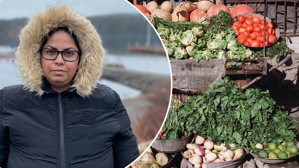 Kvinna med glasögon, svart jacka med huva med päls runtom samt ett grönsaksstånd i Kabul.