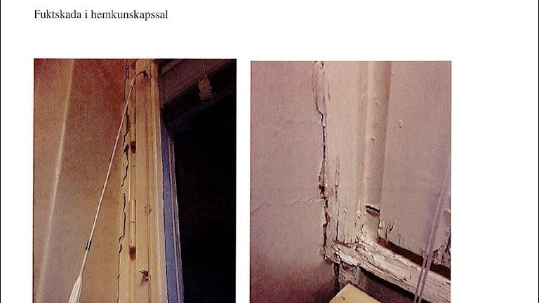 Fuktskada i fönster skolsal