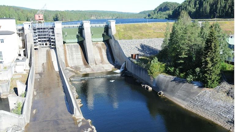 Dammen vid Hölleforsens kraftstation där en pappa tappade sitt barn.