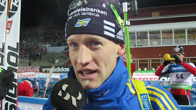 Carl Johan Bergman vann sprinten i världscupen. Foto: Lennart Hobring P4 Jämtland 111202
