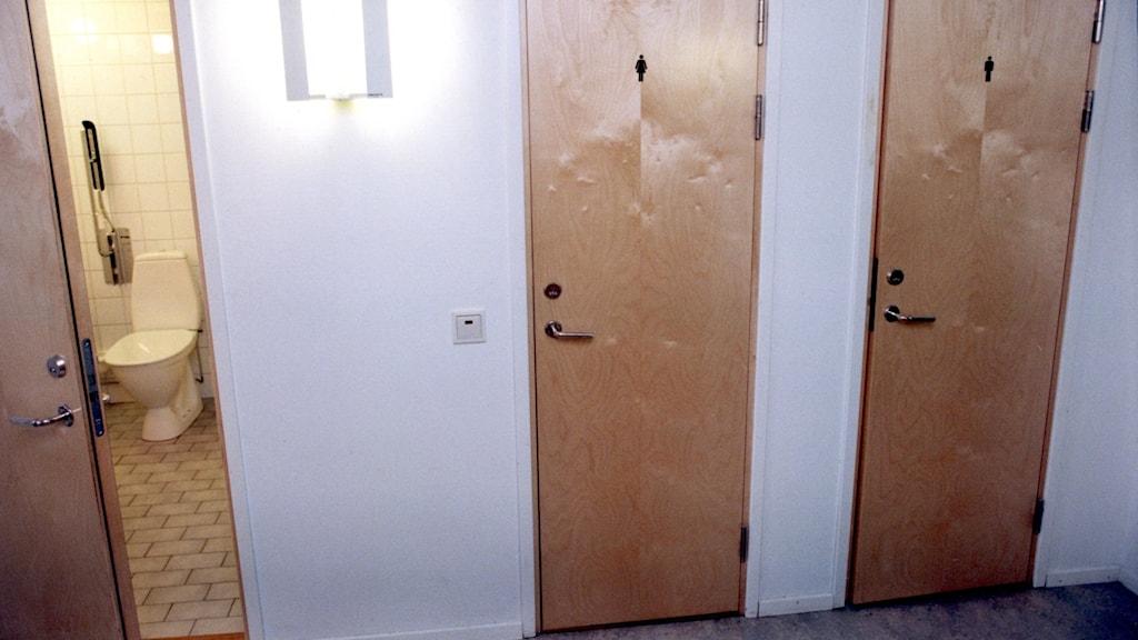 Tre toalettdörrar