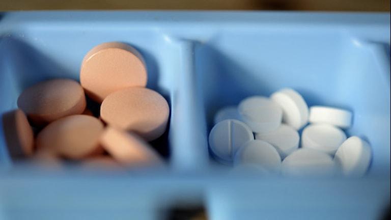 Medicin. Olika slags tabletter i doseringsskålar. Foto: Jessica Gow / SCANPIX