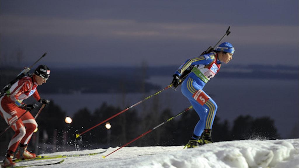 Elisabeth Högberg vid skidskyttetävling i Östersund. Foto:TT.
