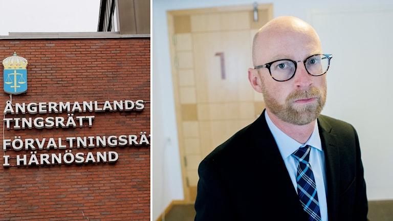 Två bilder: tegelfasad med skylt Ångermanlands tingsrätt samt porträtt man i kavaj och slips framför dörr inomhus.