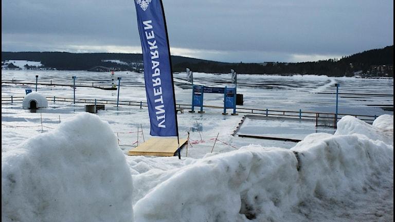 medvind, medvinden, is, snö, slask, vinterparken, badhusparken Foto: Marcus Frånberg/Sveriges radio.