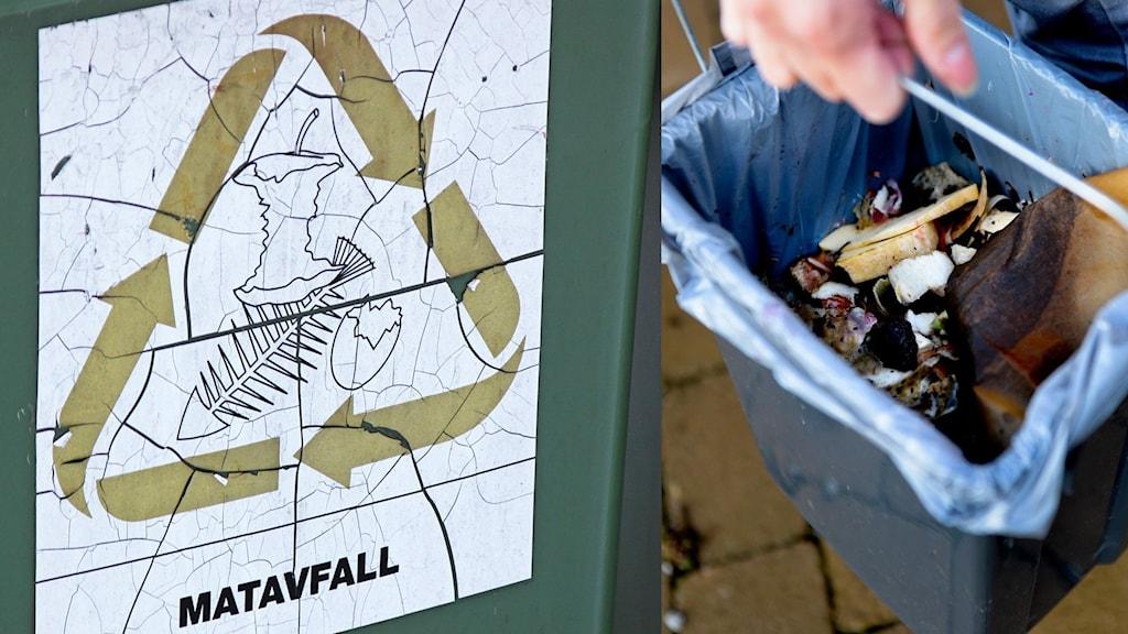 Halva bilden är på en hand som håller i ett sopkärl med matavfall i, den andra halvan är på en skylt med matavfall.