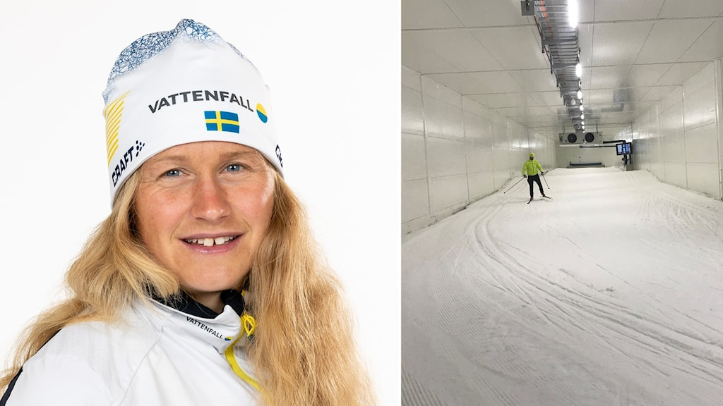 Två bilder: Kvinna med långt, blont hår och vita skidkläder samt skidåkare i tunnel med skidspår