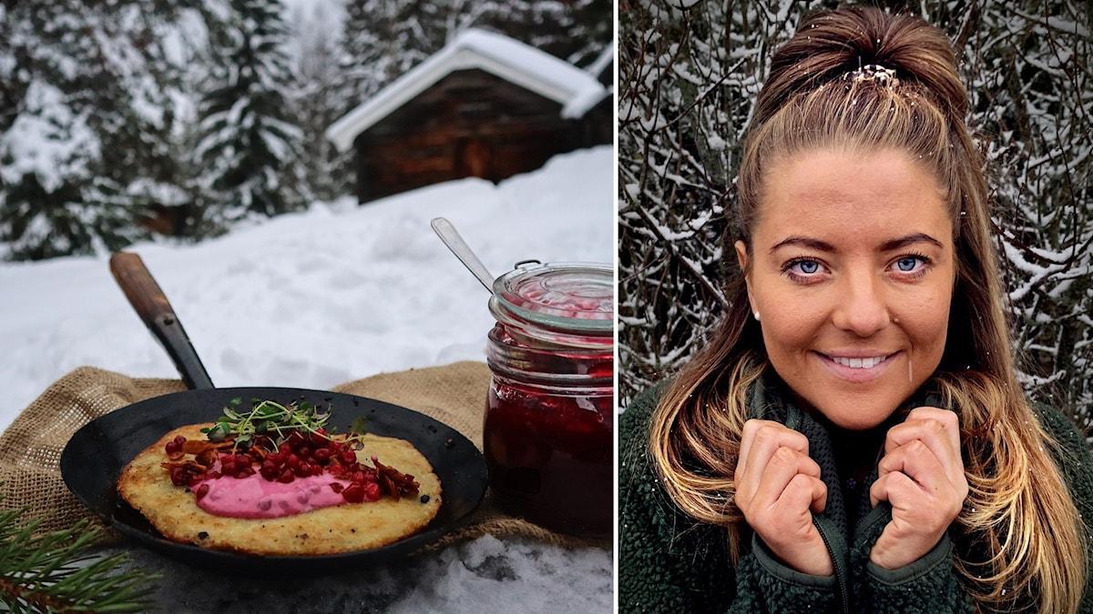 Två bilder: Porträttbild ung kvinna med ljusbrunt hår fotograferad utomhus med snötäckt buske bakom samt Stekpanna med raggmunk med sylt och syltburk bredvid fotograferat utomhus med snö runtomkring