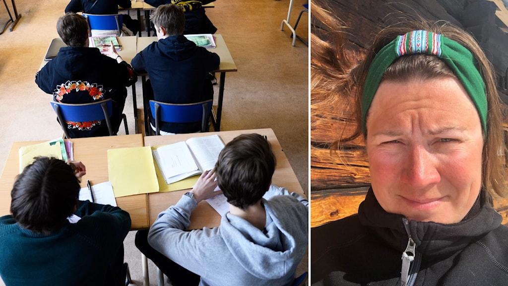 Två bilder: Klassrum med elever samt kvinna i friluftskläder utomhus vid timmervägg