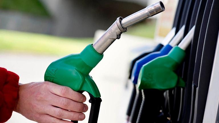 En bil tankas med bensin på en bensinstation. Foto: Pontus Lundahl/Scanpix