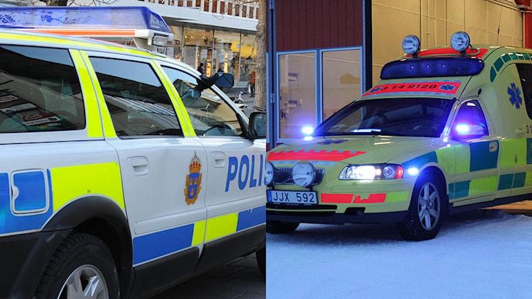 Polisbil och ambulans