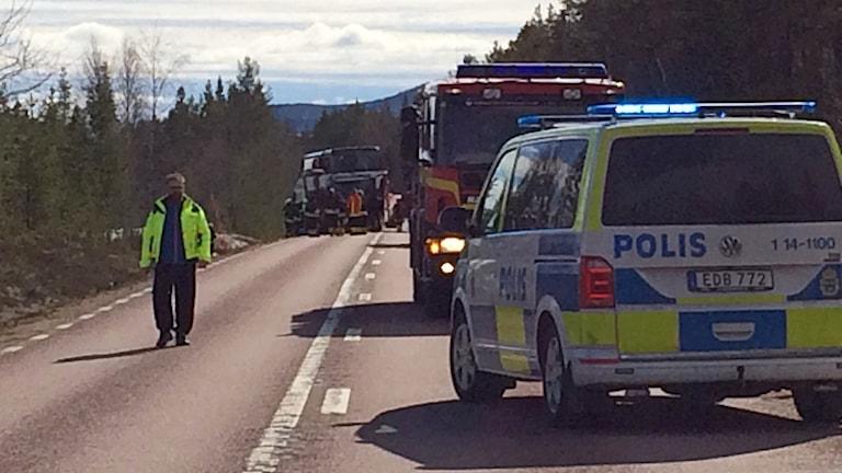 Trafikolycka med räddningsfordon