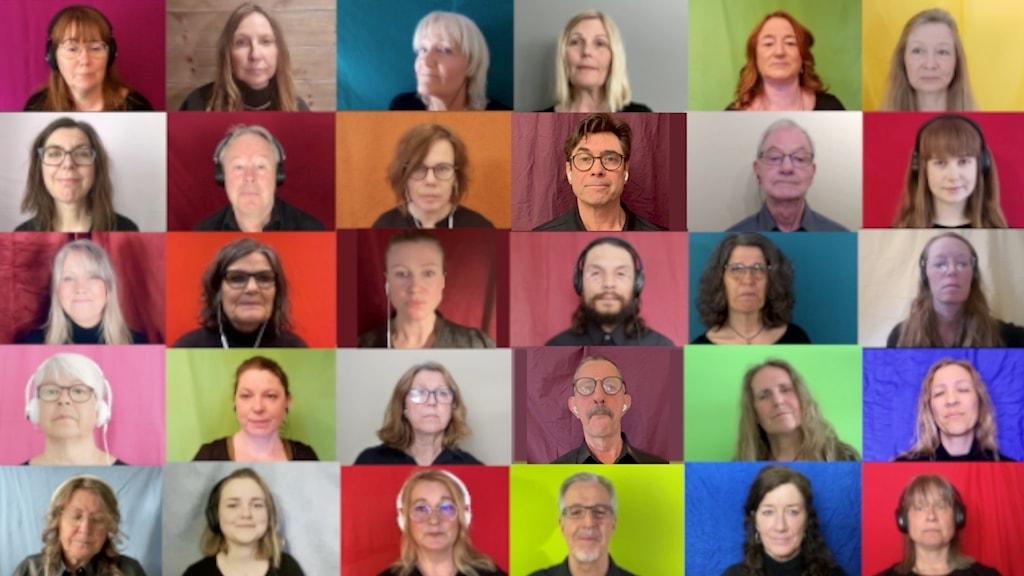 bilder på medlemmar i en kör som gör digital körsång