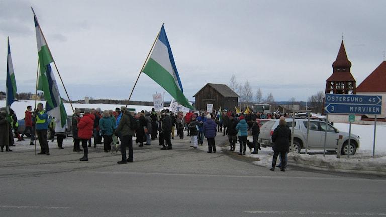 Urandemonstration i Oviken. Foto: Marcus Frånberg/Sveriges Radio.