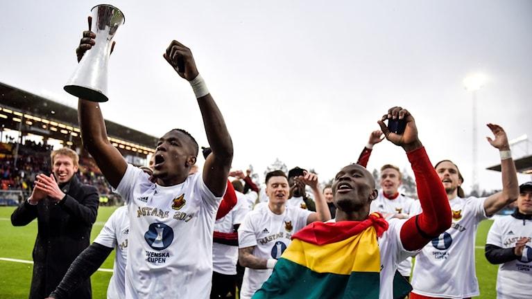 Östersunds Fotbollsklubb jublar efter seger i Svenska cupen 2017