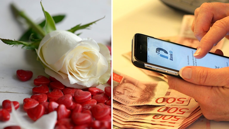Två bilder:vit ros ligger på bord med mängder av små röda hjärtan samt närbild kvinnohänder som har bank-id uppe i mobiltelefon och 500-lappar utströdda apå skrivbordet framför sig