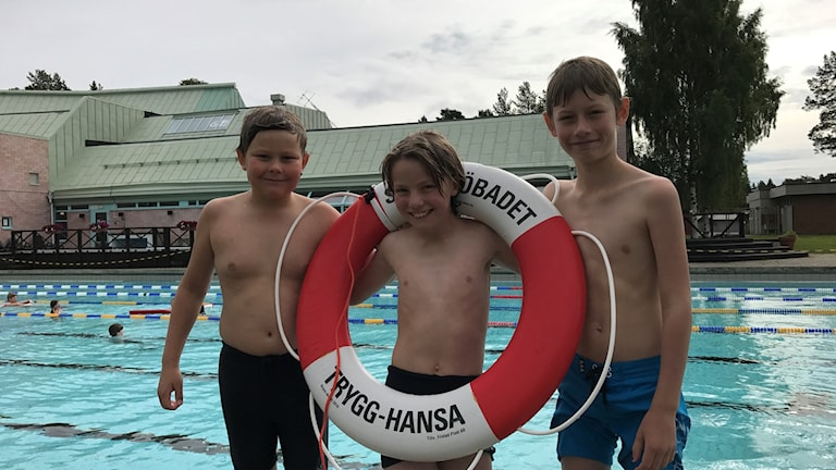 Ludwig Öman, Mathias Wikberg och André Langville är tre av de 22 barn som lärde sig att rädda liv under livräddarlägret.