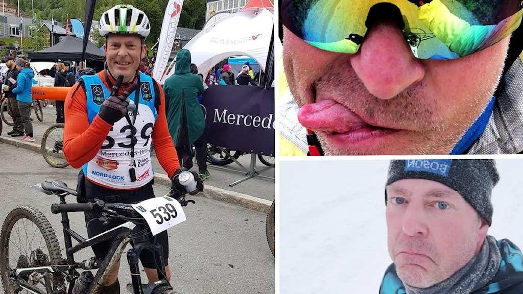 Bildkollage - tre bilder på samma man. På en bild står han med sin cykel vid målgången efter en cykeltävling klädd i shorts, tröja, cykelhjälm och nummerlapp. En bild visar närbild på hans ansikte, där han har solglasögon och tungspets sticker ut i mungipan. På den sista bilden står han i ett vintrigt landskap klädd i mössa och ser ledsen ut.
