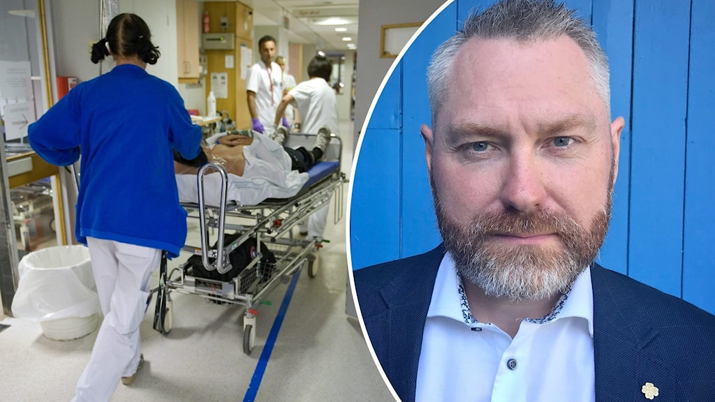 Till vänster sjukhuspersonal på en akutmottagning, till höger en man med skägg som tittar in i kameran.