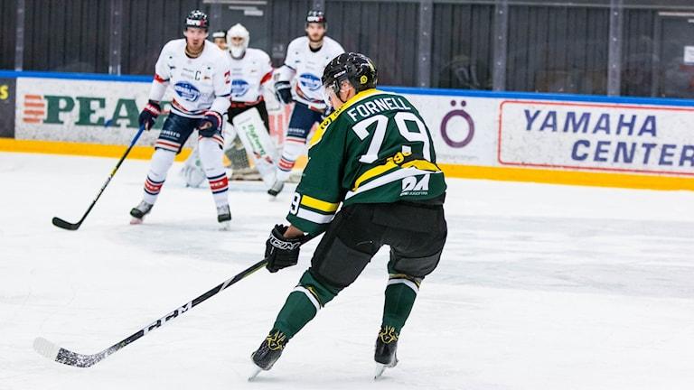 Tre ishockeyspelare på isen.