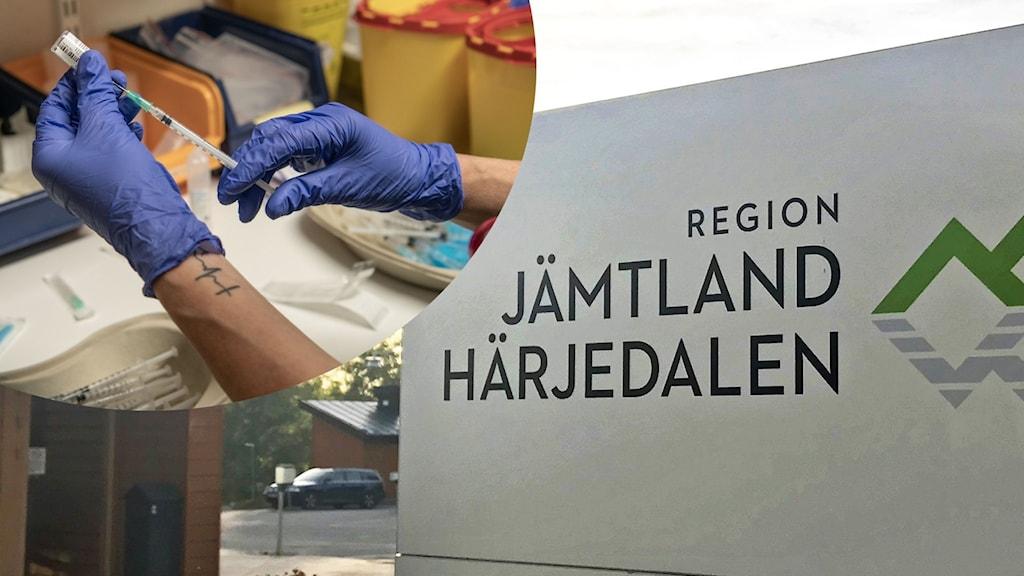 """Två bilder: En person håller i en spruta och har blå plasthandskar på sig och en skylt där det står """"region jämtland härjedalen""""."""