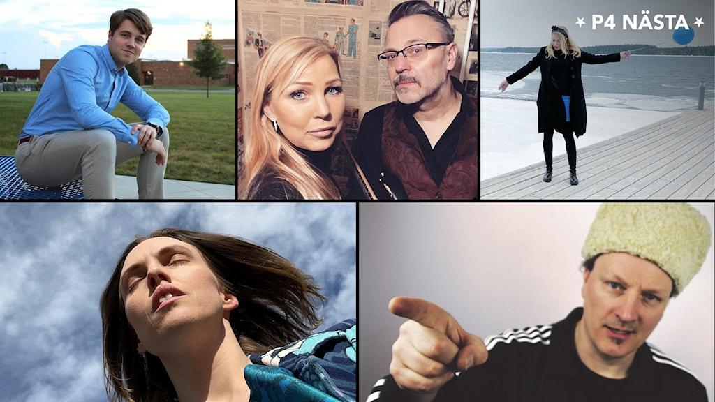 Elliot Westerlund, Elisabeth Rolandsson och Janne Berglund, Erica Skogen, Emma Carlsson och P-Danjelsa gör upp i den lokala finalen i P4 Nästa 2021