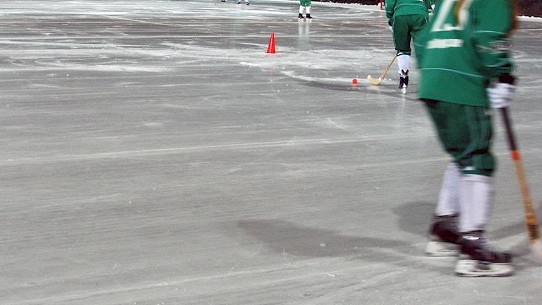 bandyspelare i grön dräkt, is