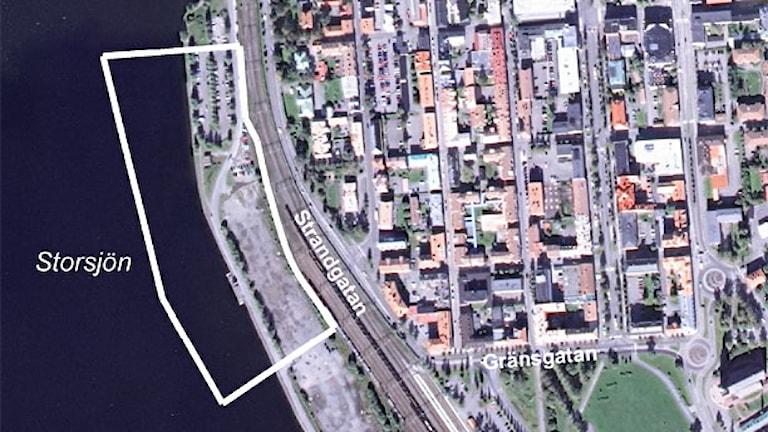 Flygfoto över Storsjö Strand. Foto: Östersunds kommun.