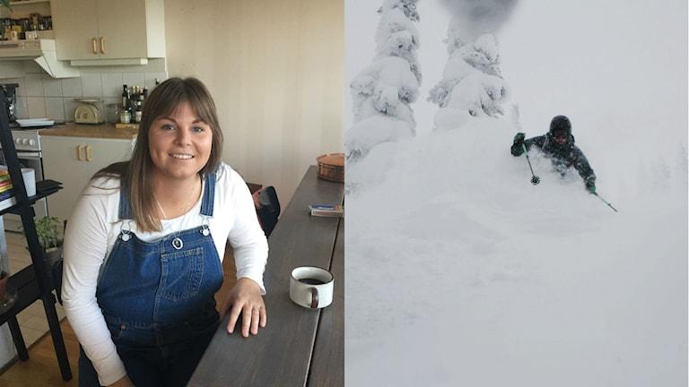 Sanne Björö till vänster. Till höger skidåkare som åker i lössnö.