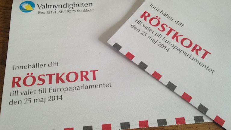 Två röstkort till Europaparlamentsvalet 2014.