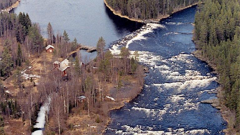 Flygbild över Långforsen. Foto: Olle Wåhlen/Jämtkraft.