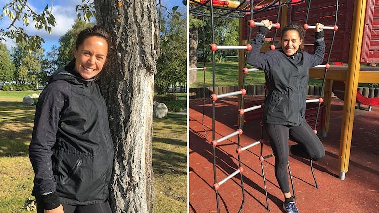 Två bilder av ung, mörkhårig gravid kvinna - vid träd i en park och vid klätterställning i lekpark