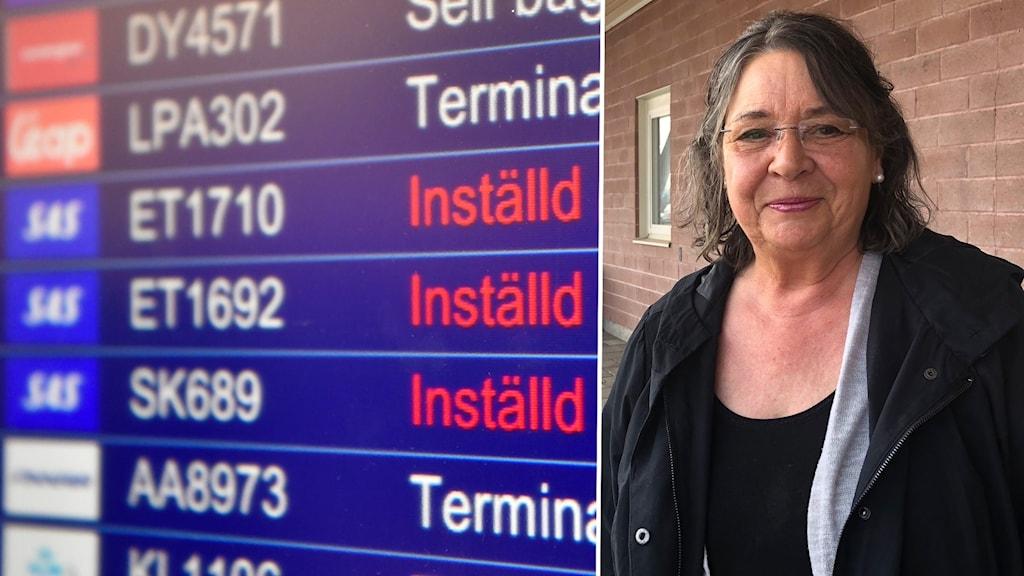 Kvinna står utanför flygplatsen. På en skärm visas flygavgångar som är inställda.