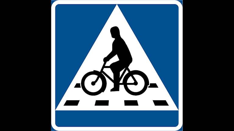 Vägmärke som anger en cykelöverfart