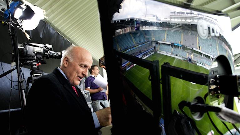 Arne Hegerfors på kommentatorsplats. Foto: Jurek Holzer/SvD/TT