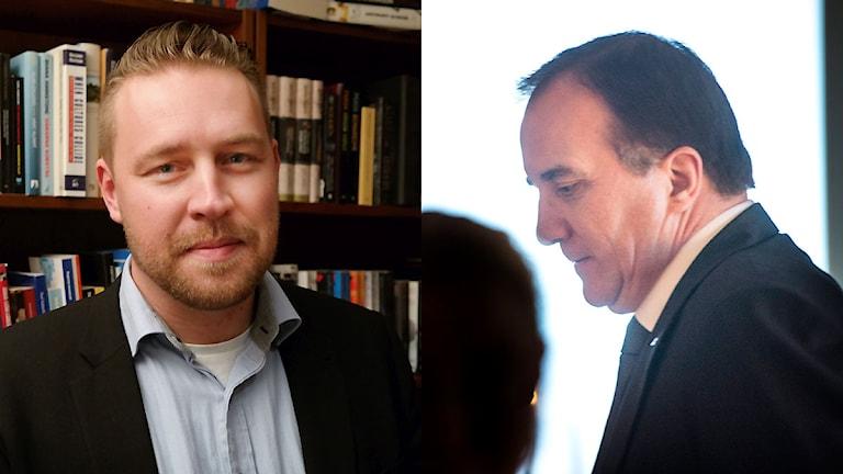 Montage - Vikarierande partiledare (SD) Mattias Karlsson och statsminister Stefan Löfven (S). Foto: Erland Vinberg / Pontus Lundahl / TT.