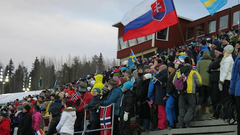 Publik på skidskyttestadion i Östersund