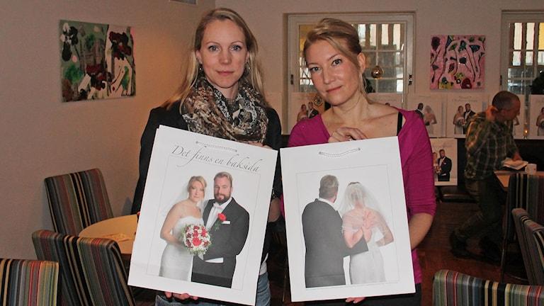 Jessica Ottosson ordförande i Kvinnojouren Jämtlands län samt Elin Olofsson, författare med fotografier från kampanj mot våld i nära relationer.