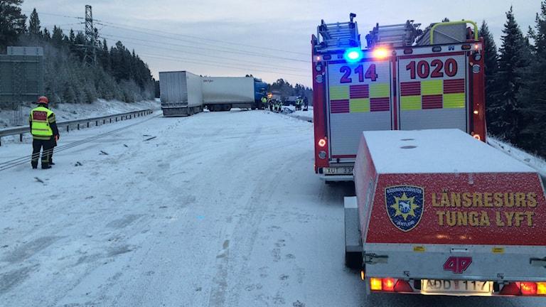 Trafikolycka på E14 Östersund. Foto Anders Mellgren