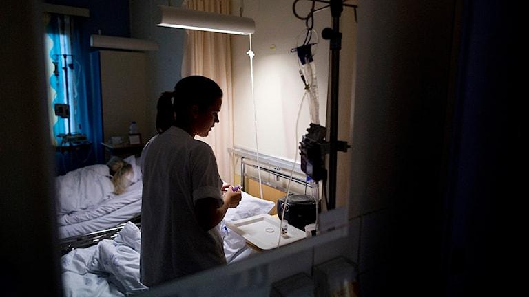 Sjuksköterska i sjuksal. Foto: Tore Meek/TT.