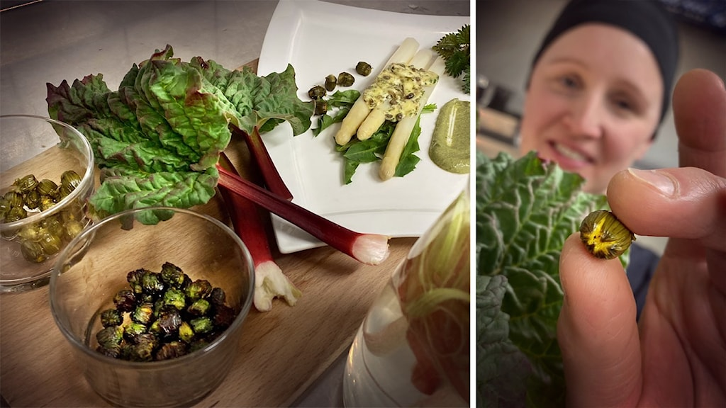 Till väsnter syns grönsaker upplagda på en tallrik, och i den infällda bilden till höger visar en kock upp en maskrosknopp för kameran.